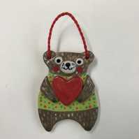 BEAR HUGS-HANGING HANDMADE CERAMIC BEARS