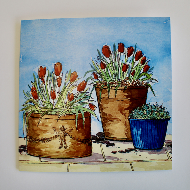 TULIP POTS-BLANK GREETINGS CARD