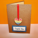HANDMADE THANK YOU CARD WITH HANGING CERAMIC HEART KEEPSAKE