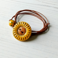 Vegan Sunflower Button Wrap Bracelet