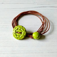 Vegan Flower Button Wrap Bracelet in Lime Green