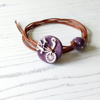 Vegan Bicycle Button Wrap Bracelet in Purple