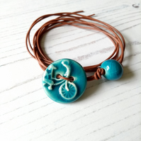 Vegan Bicycle Button Wrap Bracelet in Turquoise Blue