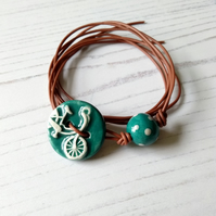 Vegan Bicycle Button Wrap Bracelet in Teal