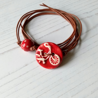 Vegan Bicycle Button Wrap Bracelet in Red