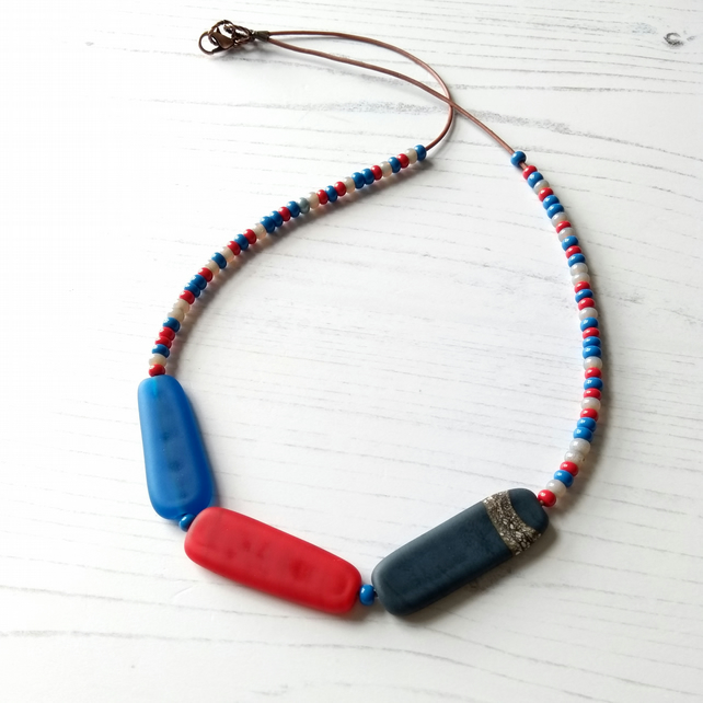 Red, Blue and Grey Statement Necklace