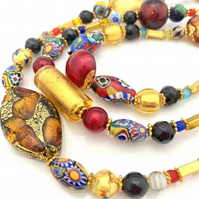 Statement Millefiori Gold Necklace. Venetian Murano Glass, Vintage & Antique