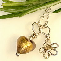 Heart Necklace Gold Amethyst Tiny Venetian Glass Sterling Silver Flower Pendant
