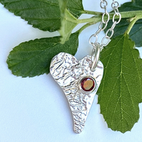 Reticulated Garnet Heart Necklace Sterling Garnet Asymetrical Heart Pendant