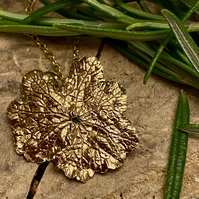Leaf Statement Necklace.Gold plated Silver Botanical. Handmade in Yorkshire