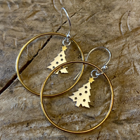 Pine Tree Pinecone Earrings - silver, gold drop earrings metalsmith.  F&W