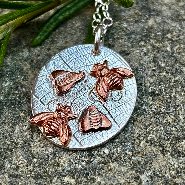 Waggle Dance Bee Pendant with Copper Bees, Silver Necklace, Bees Apiary