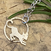 Cat Pendant.Little Cat Sterling Silver Necklace  hand sawn by artist maker.