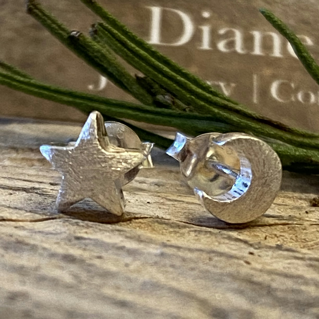 Chunky Moon and Star Stud Earrings, Solid sterling silver. Posts. F&W