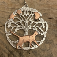 Silver Tree of Life Pendant with Copper Cat Necklace, Freedom, Stars, Lunar