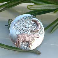 Lapel Pin, Tie Stud, Hat Pin Silver and copper Sheep F&W