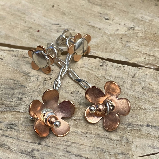 Sample Sale. Flowers Sterling Silver copper Earrings, drop.