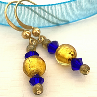 Gold Venetian Glass Quality Crystal,  Solid  9ct Gold Hook Earrings