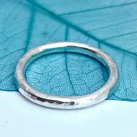 Mens Engagement Ring, Hammered Sterling Silver made to order in any size.