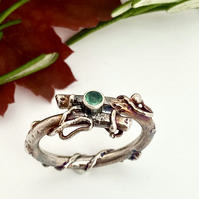 Twig Emerald Engagement Ring, Oxidised Sterling Silver made to order.