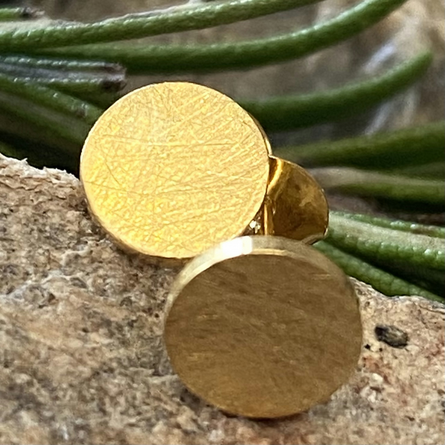 Chunky Gold circle Stud Earrings, gold plated Solid sterling silver. Posts. F&W