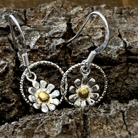 Flower Drop Earrings - silver, handmade, daisy petals Mother gift.