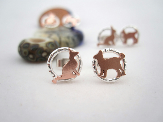 Cat Earrings, Stud, Posts, Kitten feline Copper