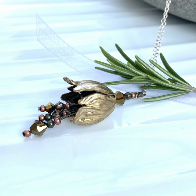 Bronze Colour Tulip Necklace, Pendant With bronze crystal detail