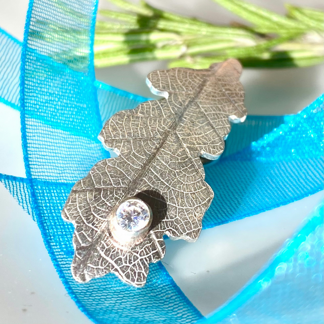 Oak Leaf Pin Brooch in Sterling Silver with Cubic Zirconia F&W