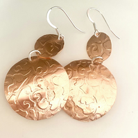 Copper & Silver Drop earrings - Big  silver copper earrings . Hook Earrings