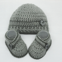 Crochet  Baby Boy Hat and Booties Set - Dark Grey Size 0-3 Months, 3-6 Months
