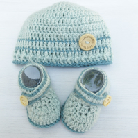 Crochet  Baby Hat and Booties Set - Light Blue - Size 0-3 Months, 3-6 Months
