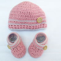 Crochet Baby Girl Hat and Booties Set In Pink - Size 0-3 Months, 3-6 Months