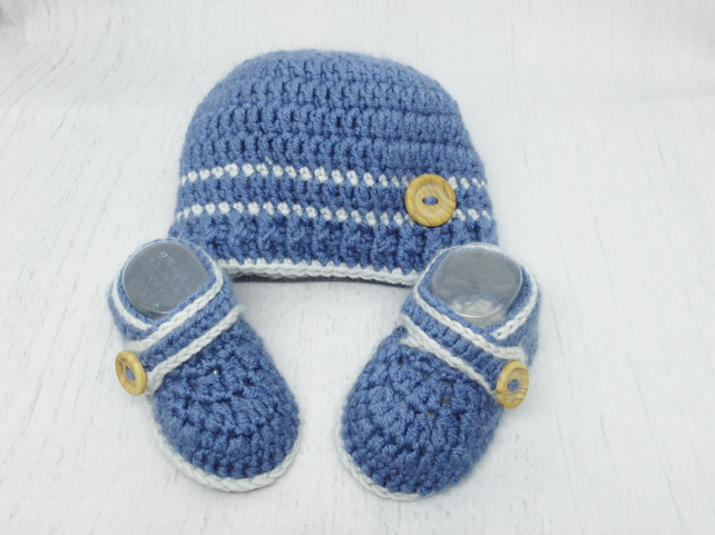 Crochet  Baby Winter Hat and Booties Set - Blue Grey Size 0-3 Months, 3-6 Months