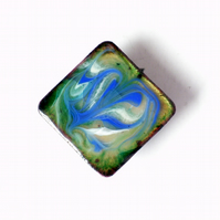 square brooch - scrolled blue and white over clear enamel