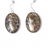 enamelled earrings - oval, multicolour, enamel chip