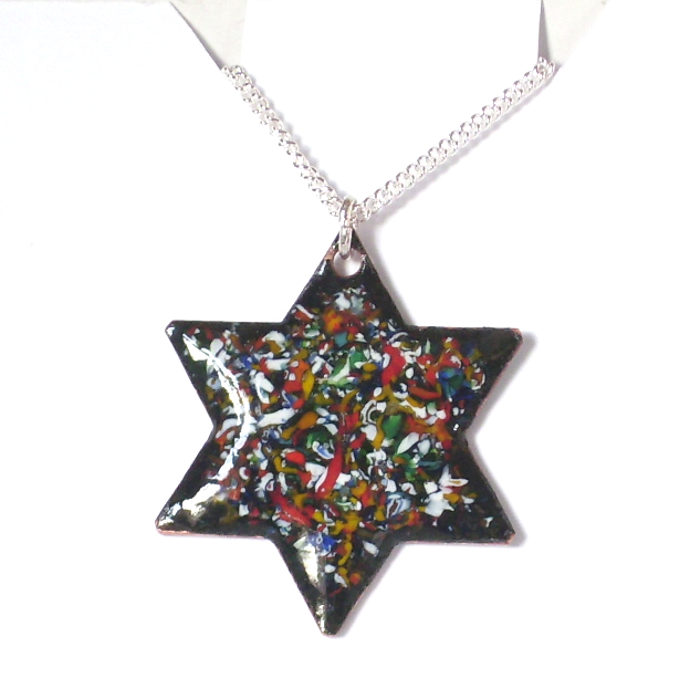 pendant - 6 pointed star; muticoloured enamel chip;  sterling silver chain