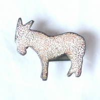 donkey brooch - dappled white and brown