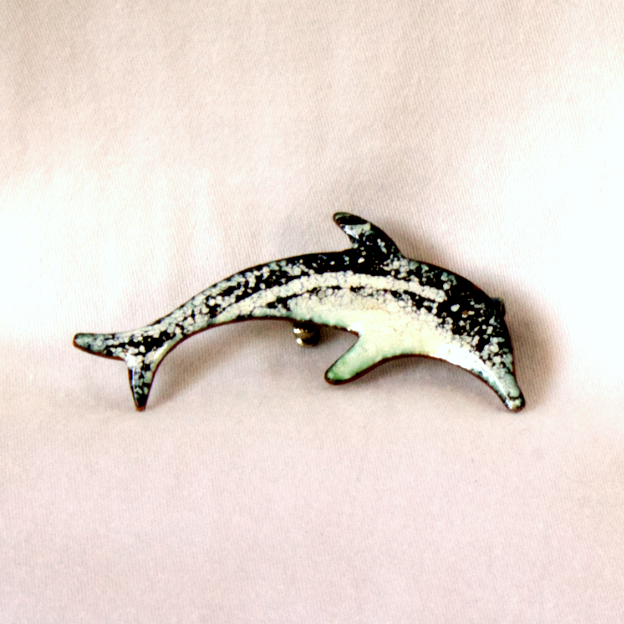 dolphin brooch - black and white
