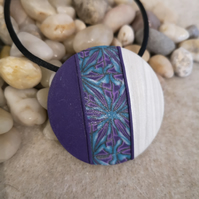 Cream and Purple Round Polymer Clay Pendant