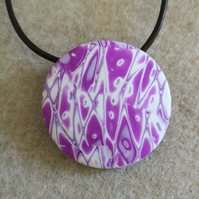 Pink and White Polymer Clay Round Pendant