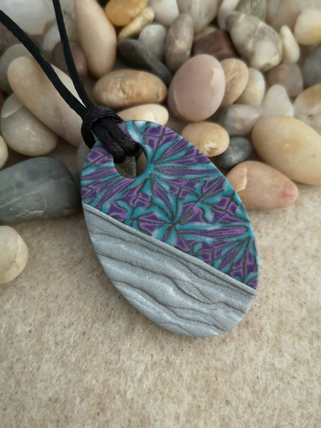 Turquoise and Purple with Silver Polymer Clay Oval Pendant