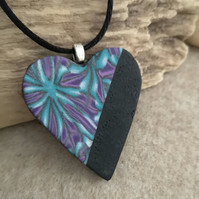Polymer Clay Heart Pendant, in purples and greens with black