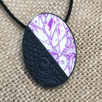 Pink and white with black Polymer Clay Oval Pendant