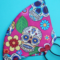 Handmade, machine stitched, 4 x layered, 100% Cotton SKULL Face Mask