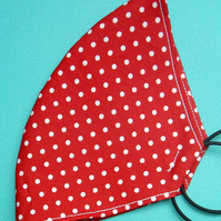 Handmade, machine stitched, 4 x layered, 100% Cotton Polka Dot Face Mask