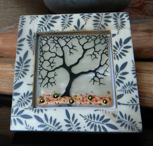 Handmade Fused Glass 'Winter Tree' framed picture.