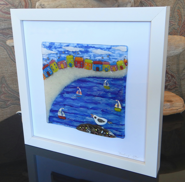 HANDMADE FUSED GLASS  'BOATING' PICTURE