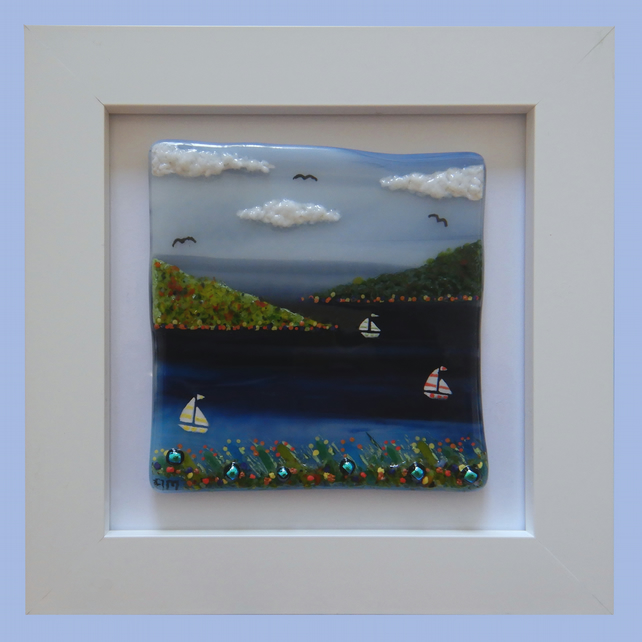 HANDMADE FUSED GLASS  'SAILING' PICTURE