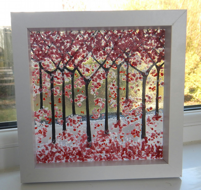 HANDMADE FUSED GLASS  'CHERRY BLOSSOM' PICTURE